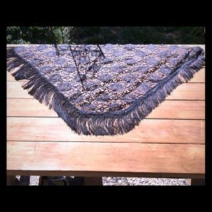 Vintage black lace and fringe triangle shawl/scarf